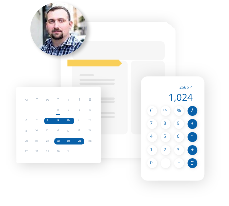 A virtual accounting expert calculating with a monthly calendar and a calculator in the USA