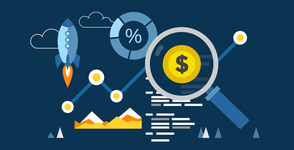 An abstract representation of the letter $ (embossed inside a lens) surrounded by illustrations of trend graphs, financial analysis sheet, rocket depicting growth, doughnut chart and cloud that represents the virtual accounting services platform