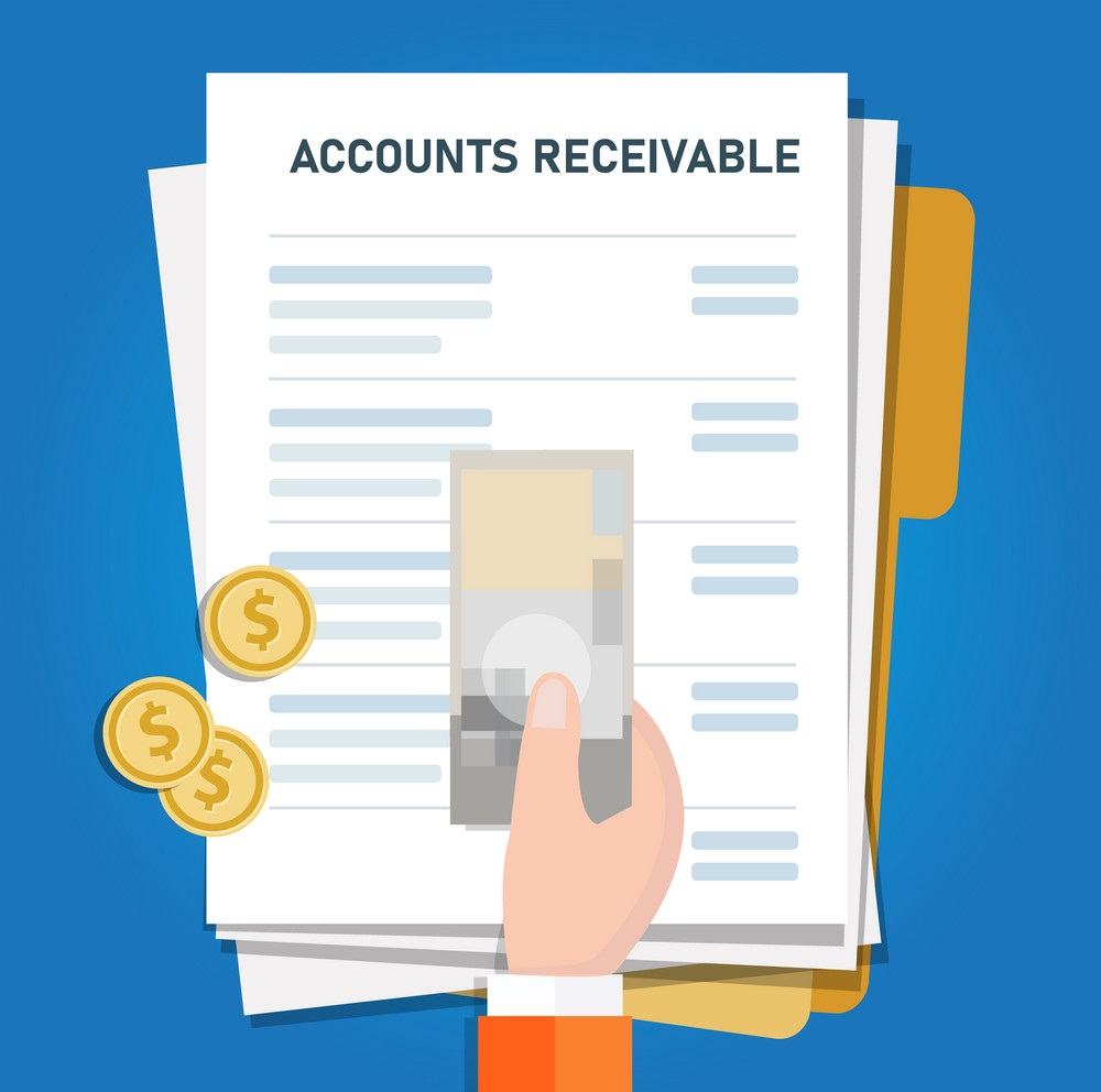 A sheet having the accounts receivable information along with money/ dollars that's been held by a human.