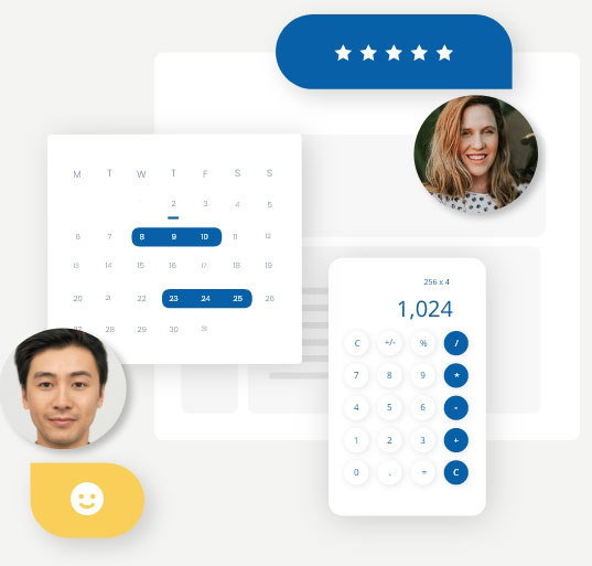 Virtual accountants, surrounded by calendar, calculator and star ratings, providing bookkeeping services online.
