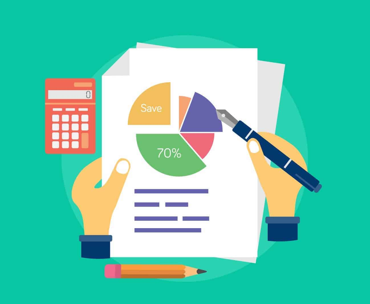 A virtual bookkeeping service provider creating a pie chart on a sheet that represents financial data. It also has calculator, pen and pencil as surrounding properties.