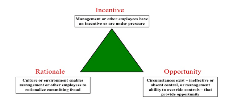 a pictorial representation of fraud risk triangle with its three sides that all virtual accounting companies face.